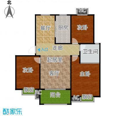 盛世景园105.86㎡C2\':三室二厅一卫105.86㎡户型2室2厅1卫
