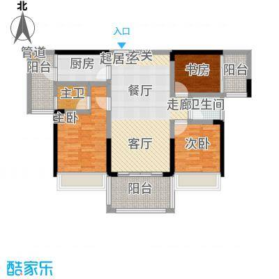 宁海世纪城100.00㎡三期星河湾畔4栋C户型100平米三房户型3室2厅2卫