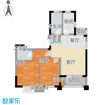 阳光新业国际91.00㎡D1二室二厅二卫户型