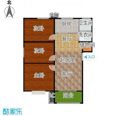 盛世景园106.09㎡H:三室二厅一卫106.09㎡户型3室2厅1卫