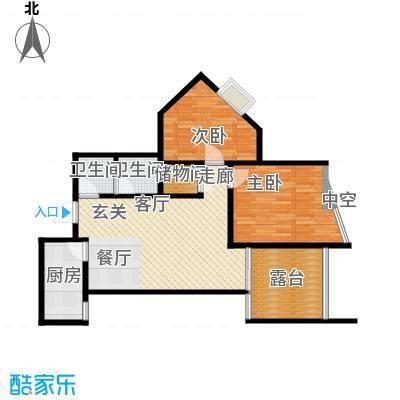 新界长安85.99㎡B户型两室两厅,赠10.56平空中花园 25平大客厅户型