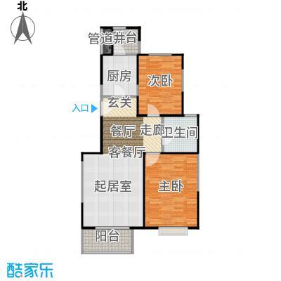 恋日风尚10号楼1门01-两室两厅一卫户型