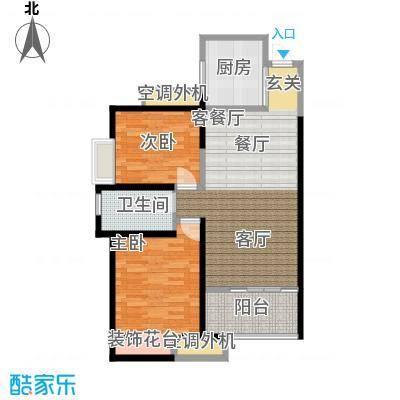 龙湖香醍国际社区89.00㎡89平米两室两厅一卫户型