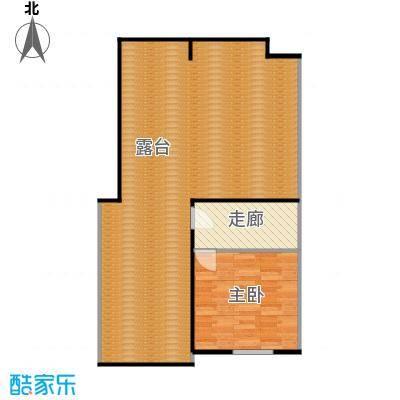 香槟新坐标1号和2号楼顶层中户越户型 一室一厅 面积区间69-80平米户型1室1厅