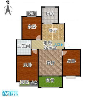 盛世景园105.77㎡B3:三室二厅一卫105.77㎡户型3室2厅1卫