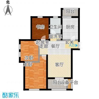 世纪梧桐公寓119.12㎡R型 三室二厅一卫户型