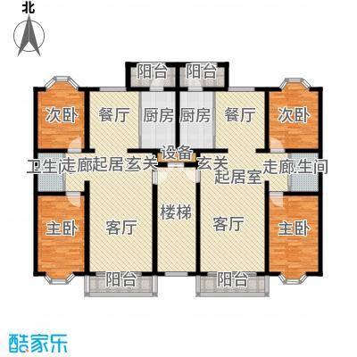 三阀门住宅楼一梯二户户型2室2厅1卫