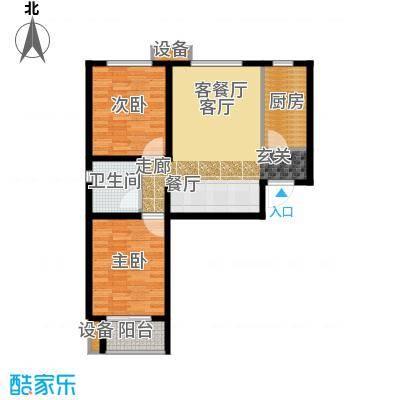 鑫丰近水庭院89.51㎡D-02户型两室两厅一卫户型2室2厅1卫