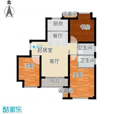 荣盛香缇澜山110.98㎡高层G14-A户型 三室两厅两卫户型3室2厅2卫