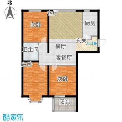 西部公馆119.79㎡D户型三室两厅一卫户型3室2厅1卫