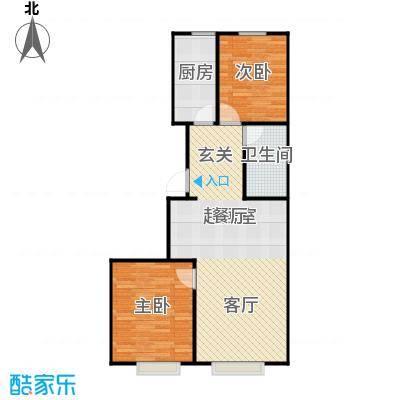 鸥洲88.86㎡电梯洋房户型图P户型2室2厅1卫
