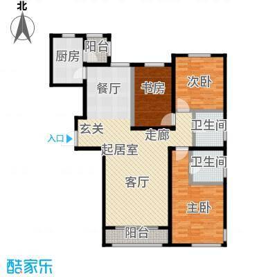 亿利城滨河湾户型3室2卫1厨