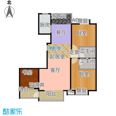 华研香水湾户型1室2卫1厨