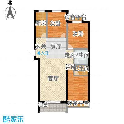 泰和福地水岸128.66㎡C2 三室两厅两卫户型3室2厅2卫