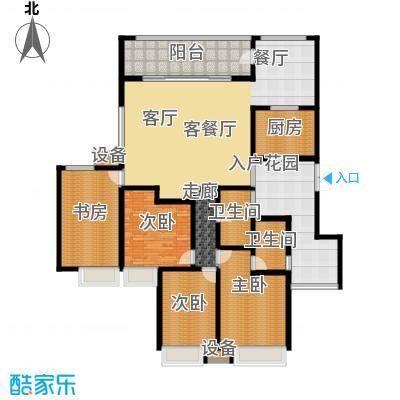 西双十贰城B1B户型 4室2厅1厨2卫2阳台1入户花园 196.26平米户型