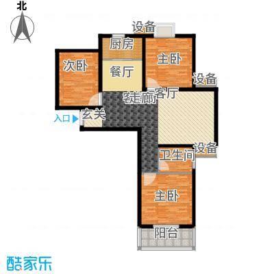 鑫丰近水庭院111.95㎡F 三室两厅一卫户型3室2厅1卫