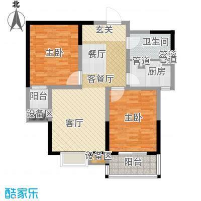 鑫丰近水庭院88.44㎡E 两室两厅一卫户型2室2厅1卫