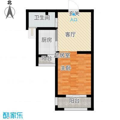 建业森林半岛48.65㎡户型1室1厅1卫