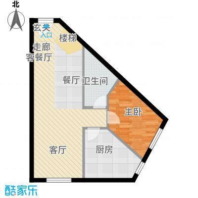 汇雄时代loft户型 LA-04 使用面积48.56平米户型