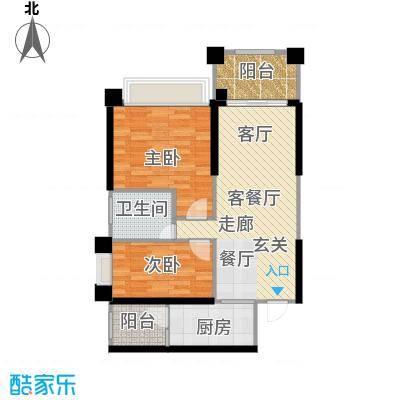敏捷绿湖国际城80.00㎡1、3、7、14栋04单元户型2室2厅1卫