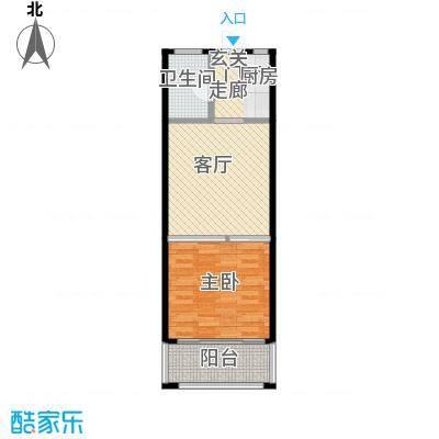 望虞花园49.73㎡1#单身公寓标准层2户型1室1厅1卫