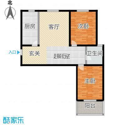 锦绣城103.00㎡两室两厅一卫户型