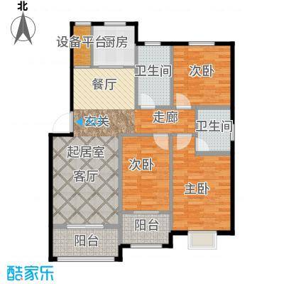 辉龙阳光新城洋房B户型120㎡三室两厅两卫户型