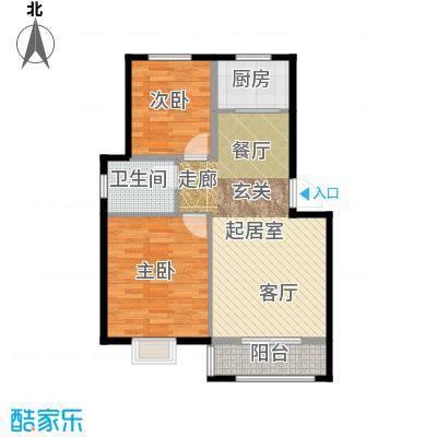 辉龙阳光新城洋房A户型90㎡两室两厅一卫户型