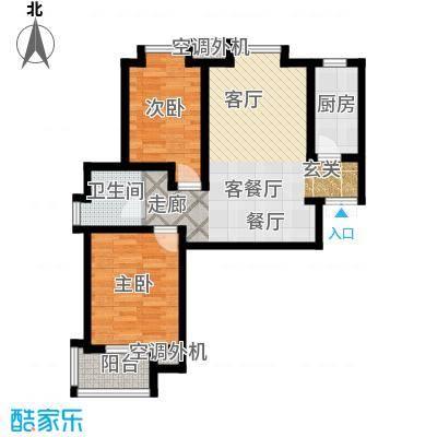 融锦尚都90.82㎡2、3#楼B户型2室2厅1卫1厨户型2室2厅1卫
