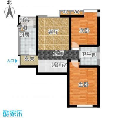 弘泽印象89.51㎡2室2厅1卫户型