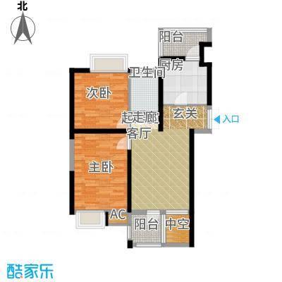 弘泽印象A04 二室二厅一卫 89.72平米户型