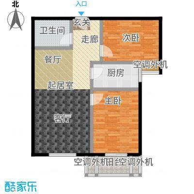 博世花倾城二区82.43㎡C2户型-两室两厅一卫一厨户型2室2厅1卫