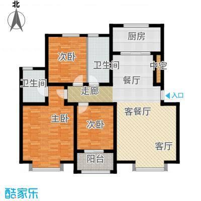 秀兰城市美居133.18㎡D-三室两厅两卫户型3室2厅2卫