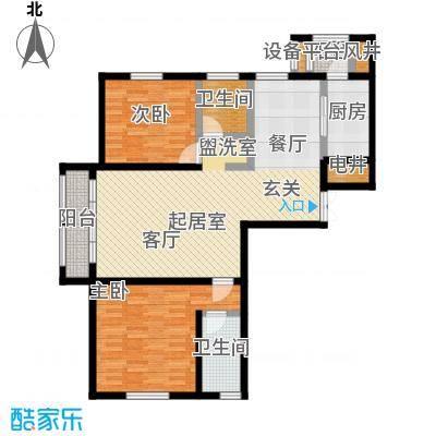 世纪梧桐公寓120.00㎡A型 二室二厅二卫户型