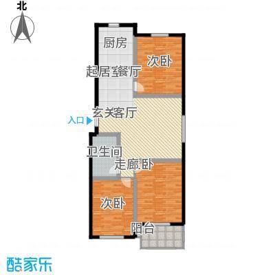 国色大观116.00㎡F户型三室两厅一卫户型3室2厅1卫
