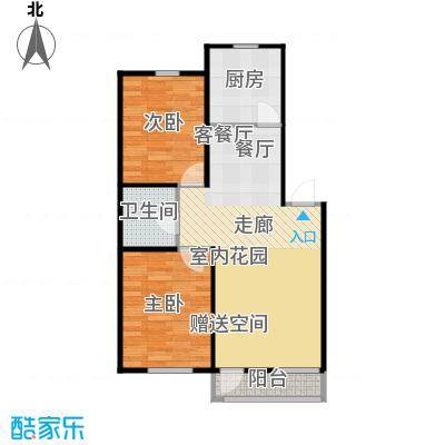 香槟新坐标69.00㎡3号和4号楼顶层中户户型 二室一厅一卫户型2室1厅1卫