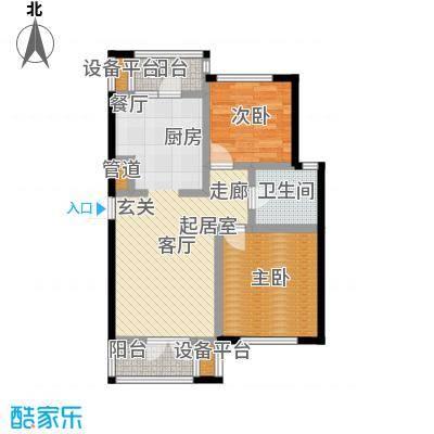 世纪梧桐公寓85.00㎡L型 二室二厅一卫户型
