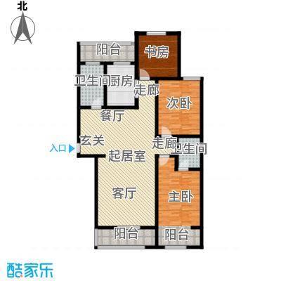 鑫泰园156.00㎡A4 三室两厅户型