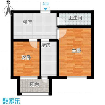 康城春天里53.57㎡A12户型 2室2厅1卫户型2室2厅1卫
