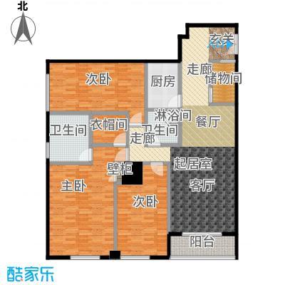 迎宾国际公寓189.48㎡1门03户型 三室二厅户型