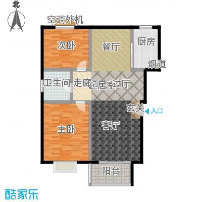 自然居家园92.00㎡B3户型 两室两厅一卫一厨户型