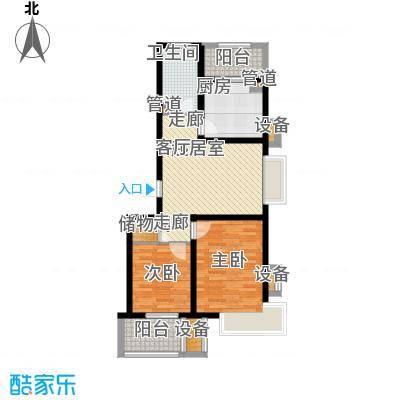 城际美景G单元 两室一厅 75-80平米户型