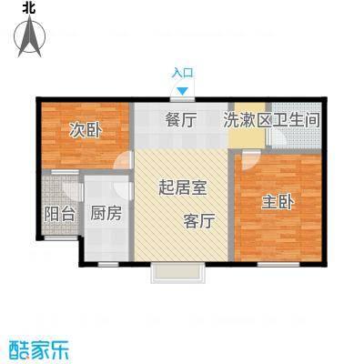 西湖庄园79.40㎡C-两室一厅一卫户型2室1厅1卫