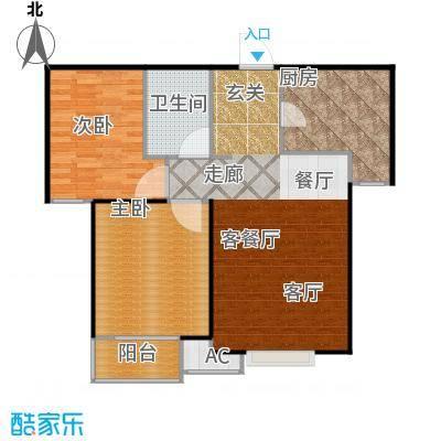 丽景溪城86.98㎡W 两室两厅一卫户型2室2厅1卫