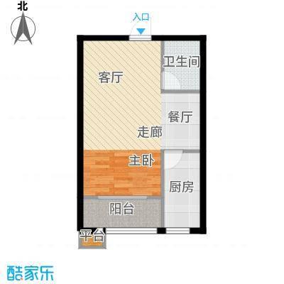 明日星城B户型一室两厅户型1室2厅1卫