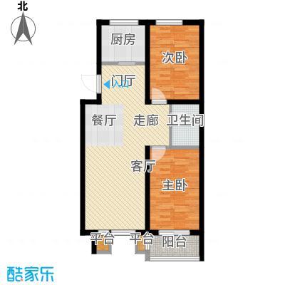 明日星城D两室一厅一卫户型2室1厅1卫