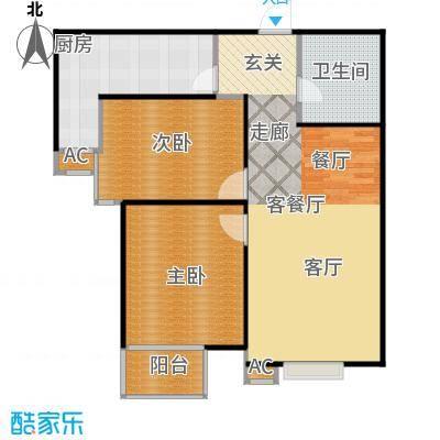 丽景溪城94.79㎡T 两室两厅一卫户型2室2厅1卫