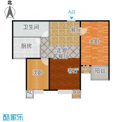 丽景溪城101.03㎡R 两室两厅一卫户型2室2厅1卫
