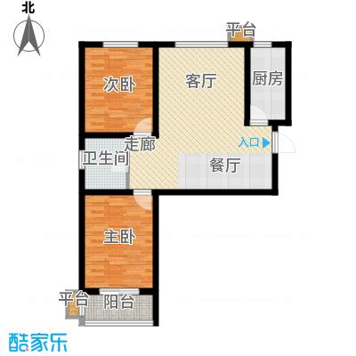 明日星城A户型两室两厅一卫户型2室2厅1卫