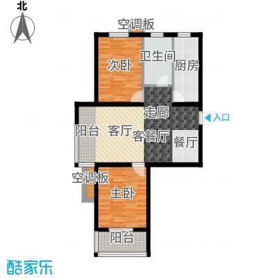 香溪茗苑89.43㎡5-H户型两室两厅一卫户型2室2厅1卫